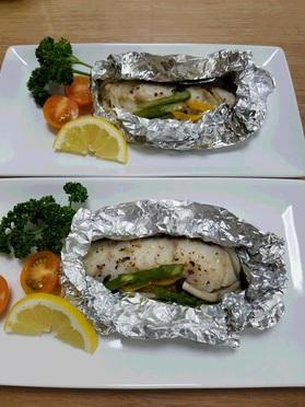 当日分の主菜の「白身魚のホイル焼き」