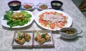 蒸し鶏の中華だれ、豆腐ステーキ、南瓜とクリームチーズのサラダ