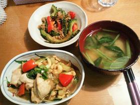 鶏肉のカシューナッツ炒め、ゴーヤとシ-チキンの和風炒め、小松菜の味噌汁